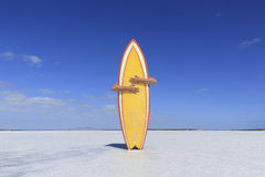 Arms hugging a yellow surfboard on a salt lake. Australia. Stock Image