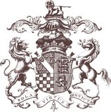 Arms with lion and horse Stock Image