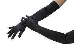 Arms with long gloves. Woman arms with long black gloves Royalty Free Stock Images