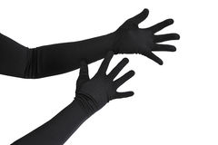 Arms with long gloves. Woman arms with long black gloves isolated on white Royalty Free Stock Photos