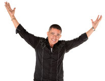 arms lyckliga den lyftta latinomannen Royaltyfri Foto