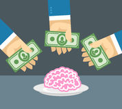 Arms and money. Buy a brain. Sales of the brain. Business illust Stock Image