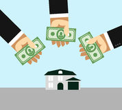 Arms and money. Buying a House. Selling a home. Business illustr Stock Photos