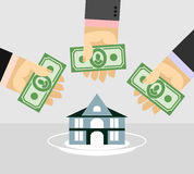 Arms and money. Buying a House. Selling a home. Business illustr Stock Image