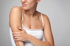 Arms Pain. Beautiful Woman Body Feeling Pain In Shoulders Royalty Free Stock Photo