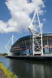 Arms Park Stadium, Cardiff. View of the Welsh national rugby stadium in Cardiff, Wales over looking the River Taff Royalty Free Stock Photo
