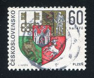 Arms of Plzen. CZECHOSLOVAKIA - CIRCA 1968: stamp printed by Czechoslovakia, shows arms of Plzen, circa 1968 royalty free stock photo