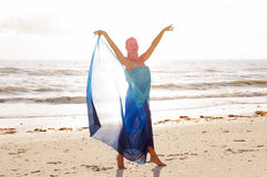 Arms raised on beach Royalty Free Stock Photo