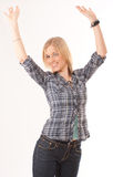 Arms raised cute blonde Royalty Free Stock Image