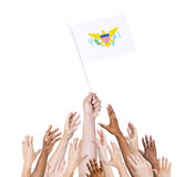 Arms Raised for the Flag of Virgin Islands Stock Image