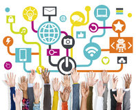 Arms Raised Global Communications Social Networking Concept Stock Image