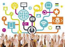 Arms Raised Global Communications Social Networking Concept Stock Photography