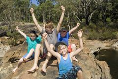Arms raised for the Great Outdoors in Australia. stock image