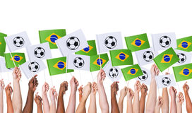Arms Raised Holding Worldcup Brazil Concept Flags Royalty Free Stock Images