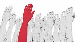 Arms raised with one red standing out. Multiple arms and hands raised in white with one red standing out from the crowd 3D illustration Royalty Free Stock Photography