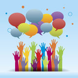 Arms raised up and speech bubbles Royalty Free Stock Photography