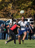 Arms Reach. Redding, California- November 7, 2015: A Highlander player (white jersey) tries to catch a pass in the air while Blackhawk player attempts a tackle royalty free stock images