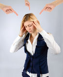 Arms show a woman under stress. Concept stress. The arms show a woman under stress Royalty Free Stock Images