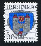 Arms of Sobeslav. CZECHOSLOVAKIA - CIRCA 1990: stamp printed by Czechoslovakia, shows arms of Sobeslav, circa 1990 stock image