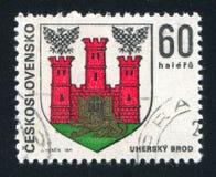 Arms of Uhersky Brod. CZECHOSLOVAKIA - CIRCA 1971: stamp printed by Czechoslovakia, shows arms of Uhersky Brod, circa 1971 royalty free stock photos
