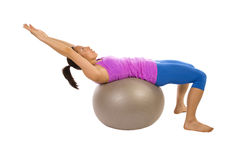 Arms up ball crunch Stock Images