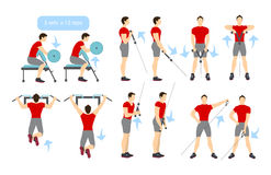 Arms workout set. Arms workout set on white background. Exercises for men. Triceps, biceps strength Stock Photo