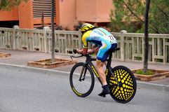 Armstrong 2009 Monaco. A time trial cyclist in Monaco time trial in 2009 Tour de France Royalty Free Stock Images