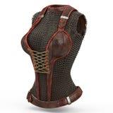 Armure à chaînes femelle faite de métal sur le fond blanc d'isolement illustration 3D Photographie stock libre de droits