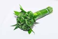 Armure fraîche de feuille de Pandanus au bouquet rose Image stock