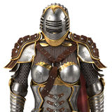 Armure médiévale d'imagination complètement des femmes avec un casque fermé et un cap rouge Fond blanc d'isolement illustration 3 Photographie stock