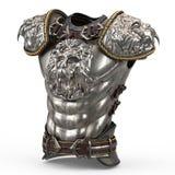 Armure médiévale sur le corps dans le style d'un lion avec de grandes épaulettes sur un fond blanc d'isolement 3d Images libres de droits