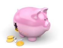 Armut und Finanzschuldkonzept von den Spareinlagen, die ein defektes Sparschwein überlaufen Lizenzfreies Stockbild