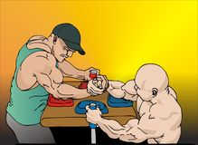 Armwrestling. Two strong guys arm wrestling Royalty Free Illustration