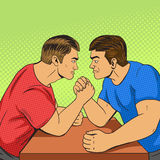 Armwrestling competition pop art style vector Royalty Free Stock Photography