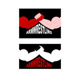 Armwrestling logo. Two strong hands. Vector illustration Stock Photos