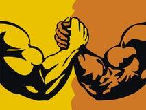 Armwrestling. Wrestling, Armwrestling. Figure vector format Stock Images