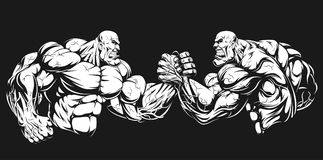 Armwrestling wrestling on hands. Vector illustration, two athletes engaged in armwrestling, fighting on hands Royalty Free Stock Photos