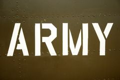 Army. The word army spelled out on an sheet of plate metal of an armoured vehicle stock photos