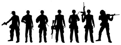 Army 2. This is a  silhouette of army troops Stock Photography