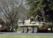 Army. Army driver training using the light armoured 8 wheels vehicles. Stopped for a rest at the city of Bellalla in the Eastern State of Victoria, before Stock Photography