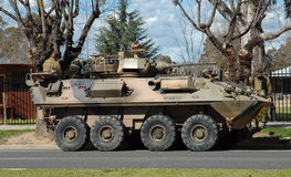 Army. Army Driver Training. The group were using the 8 Wheeled Light Armoured vehicles. They were stopped in Bellalla on there way to the Puckapuny Army Base in Stock Photo