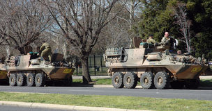 Army. Army Driving Training. The Australian Light Armoured regiment was on a exercise. taking a rest stop at the City of Bellellla in Victoria. Before heading Royalty Free Stock Photography