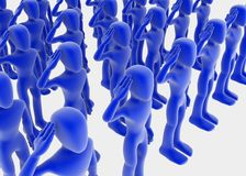 Army. Multiple 3d saluting figures standing straight in order, blue over white background Royalty Free Stock Photography