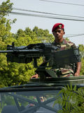 Army. On alert in anticipation of terrorist attacks in the city of Solo, Central Java, Indonesia stock photos