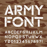 Army alphabet font. Distressed type letters and numbers. Royalty Free Stock Images