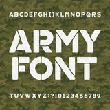 Army alphabet font. Scratched type letters and numbers on a seamless green camo background. Royalty Free Stock Photography
