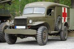 Army ambulance vintage. Military transportation Stock Image