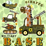 Army. Animal soldier with military equipment, vector cartoon illustration. EPS 10 Royalty Free Stock Photo