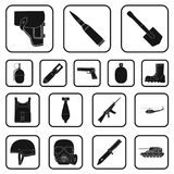 Army and armament black icons in set collection for design. Weapons and equipment vector symbol stock web illustration. Army and armament black icons in set Royalty Free Stock Images