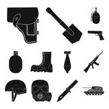 Army and armament black icons in set collection for design. Weapons and equipment vector symbol stock web illustration. Army and armament black icons in set Stock Photography
